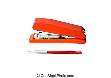 Red stapler and pen