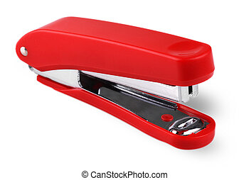 Red stapler isolated on a white background.
