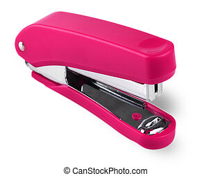 Red stapler isolated on white background. Selective focus