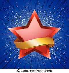 Red star and golden banner on blue star burst