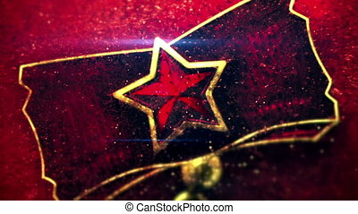 red star close-up shot seamless loop