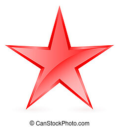 Red star. - Glossy five-pointed red star on white...