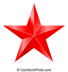 Red star. - Shiny five-pointed red star. Illustration on...