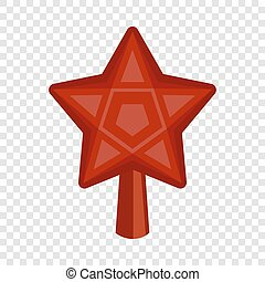 Red star fir tree icon, flat style