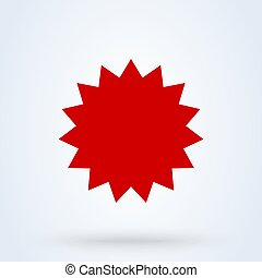 Red star flat symbol icon on white background. Vector illustration