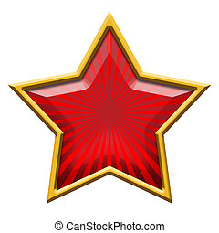 Red Star in Gold, isolated on white
