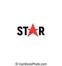 Red star isolated logo vector template on white background