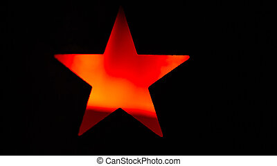 red star on a black background