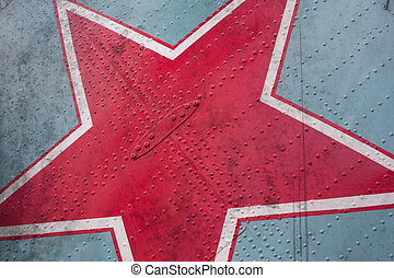 Red star on grunge background