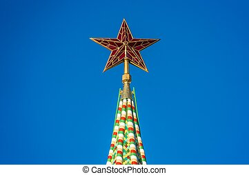 Red star on the top of the Kremlin tower on Red Square in Moscow