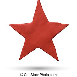 Red star on white background.