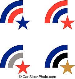 Red Star Spartan Head Logo Template Illustration Design. Vector EPS 10.