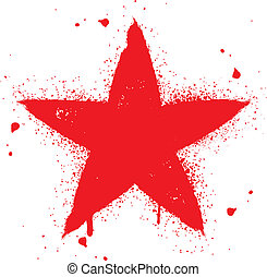 Red star spray graffiti ink