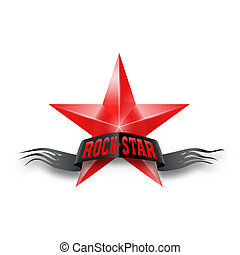Red star with Rock Star banner - Red star with black torn...
