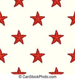 Red starfish pattern seamless