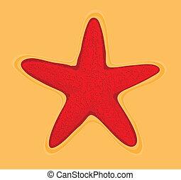 starfish - red starfish vector of illustration