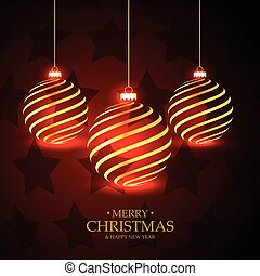 red stars background with hanging golden christmas balls