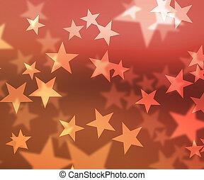 Red Stars Bokeh Background