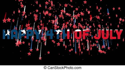 Animation of a text Happy 4th Of July made with U.S. flag with red and blue stars floating on black background. U.S.A flag independence day concept digital composition