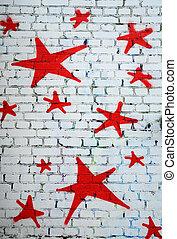 Red Stars on White Brick Wall