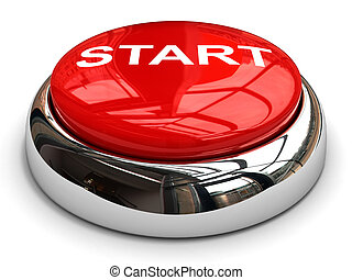 Red start button concept. 3D image