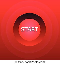 Red start button - Red glossy start button over gradient red...
