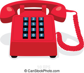 Red stationary phone with button keypad. Vector...