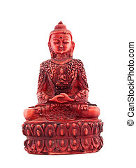 Red statue of budha front