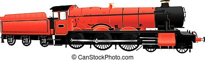 Red Steam Loco - A Red Vintage Steam Locomotive isolated on...