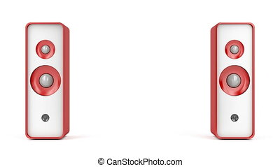 Red stereo speakers on white background
