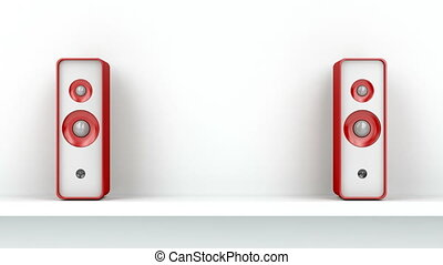 Red stereo speakers on white shelf, front view