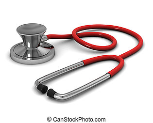 Red Stethoscope on white. 3d render