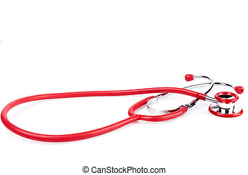 Red Stethoscope on White