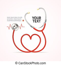 Red Stethoscope. Vector