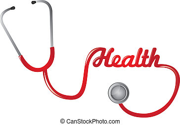 stethoscope - red stethoscope with healt text isolated...