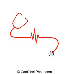 Red stethoscope with Heartbeat sign. Vector Illustration.