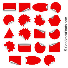 Red sticker - Red Blank Sticky Paper Set Isolated on White...