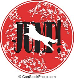 Red Sticker. Illustration of Isolated Real Looking Dog Jumping and Catching Disc. Text JUMP!