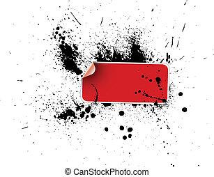 Red sticker on a grunge