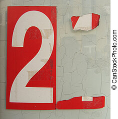 red sticker white number 2 two on white grunge glass background
