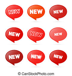 Red Stickers with New Title Isolated on White Background