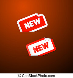 Red Stickers with New Title on Dark Red Background