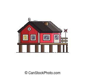 Red Stilt House Vector Illustration