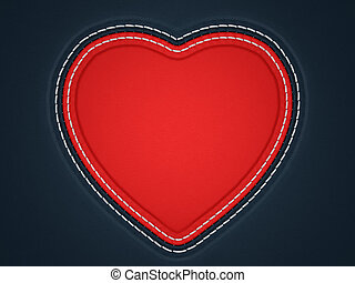Red stitched heart shape on black leather background. Large...