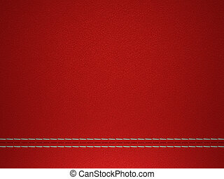 Red stitched leather background - Red horizontal stitched...