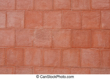 Red Stone Block Wall