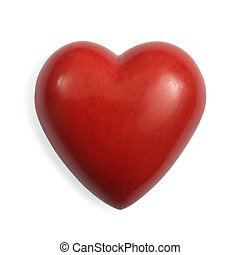 Red stone heart isolated - Photo of a heart-shaped red stone...