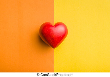 Red stone heart. - Red stone heart on double colorful ...