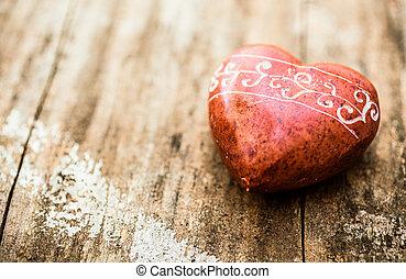 Red stone shaped like a heart