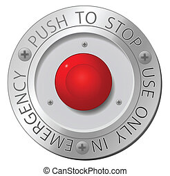 Red stop button, vector sign